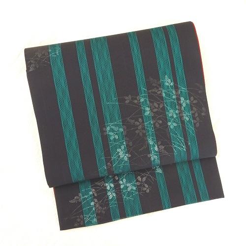 紺系萩透かし模様リバーシブル全通柄袋帯(正絹)