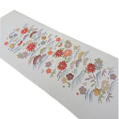 グレー系波に草花模様刺繍半衿(正絹)