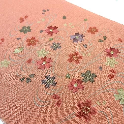 オレンジ系流水に桜刺繍半衿(正絹)