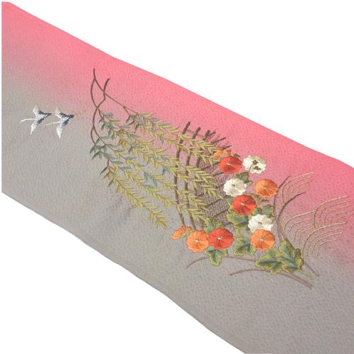 グレーピンク染め分け鶴・柳・橋刺繍半衿(正絹)