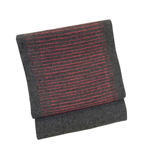 グレー系横縞柄八寸帯(袋なごや帯)(正絹)