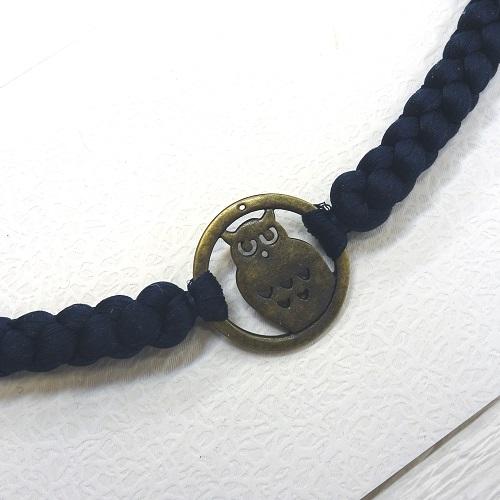 フクロウ男物羽織紐(紺)