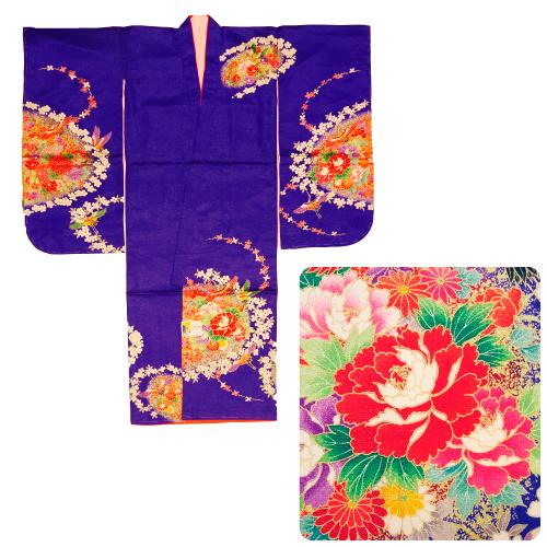 【七五三】七歳女児用<お着物・重ね衿(伊達衿)・襦袢>3点セット(紫・鶴と花柄)