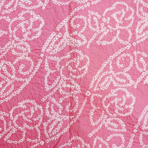ピンク地絞り花模様綿生地(綿100%)(子供用浴衣などに)