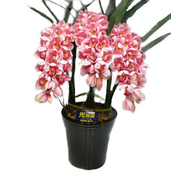 光触媒 造花 シンビジューム ピンク3本立ち