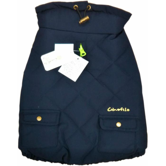◆送料無料◆【Cinofilo】ドッグウェア ポケット付き 中綿キルトハイネック ネイビー FLサイズ おしゃれ・暖かい・軽い・柔らい フレンチブルに!