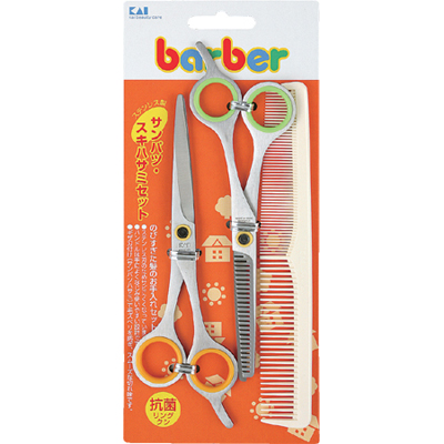 Shell mark barber Barber Sampath scissors set (stainless steel) with a comb KK-0235