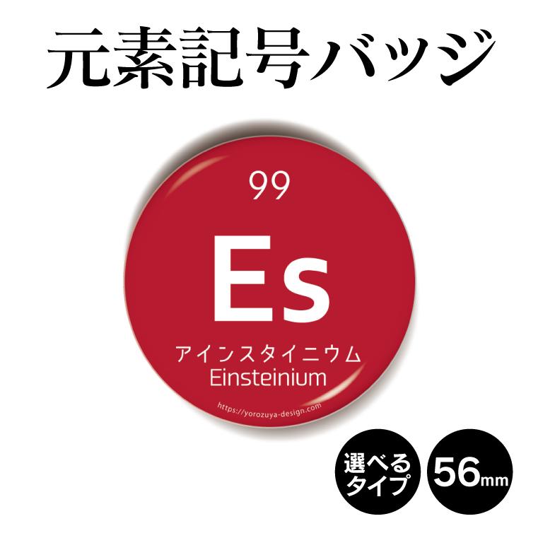 元素記号バッジ(丸型56mm) アインスタイニウム 缶バッジ キーホルダー マグネット 周期表 記念品 プレゼント ノベルティ/おもしろ