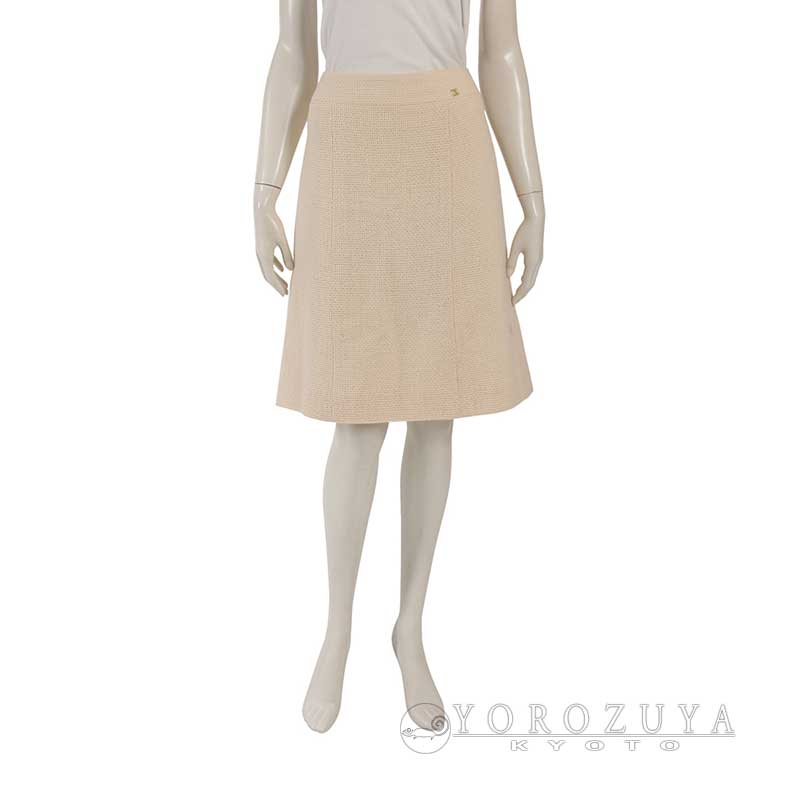 【SALE】 CHANEL シャネル スカート P22291 V13105 ウール シルク アイボリー 【中古】