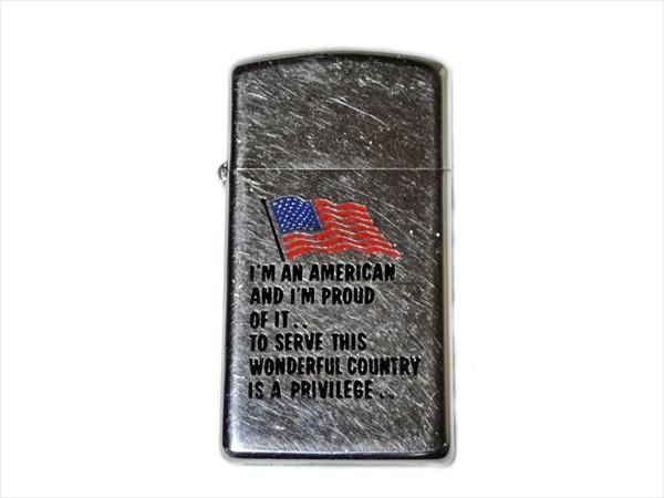 ジッポ Zippo ビンテージ 1974年(//// zippo ////)USA国旗 スリムライター 中古