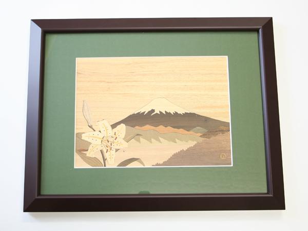 木象嵌 百合と富士