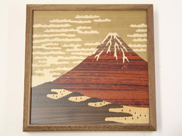 木象嵌シークレットパネル 赤富士