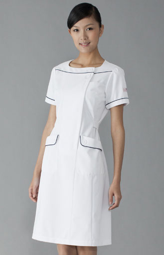 白衣 女性看護師用ナースワンピース白衣ホワイトHI108-1【】
