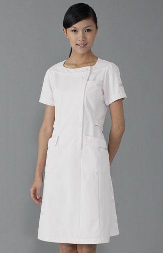 【ラッキーシール対応】女性看護師用ナースワンピース白衣ピンクHI108-3【】