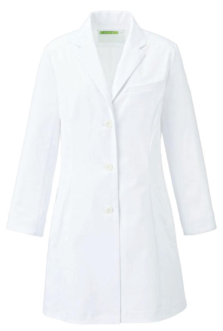 【ラッキーシール対応】白衣 女性用レディース診察衣 ショート丈 ホワイト ドクター KAZENカゼン KZN127-40