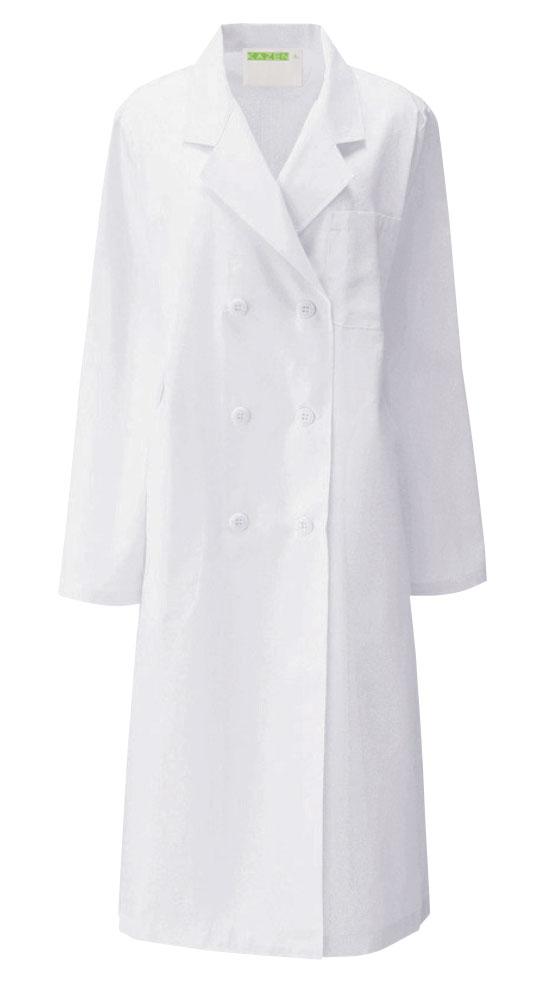白衣 新入荷 流行 レディース 即日出荷可 女性ドクター診察衣ダブル型白衣 長袖 女性 女子 レディス 実験衣 医師用 125-30 KAZEN 検査着 理科の先生の白衣 栄養士 0380120201P ドクター 実習衣 国産品 薬剤師