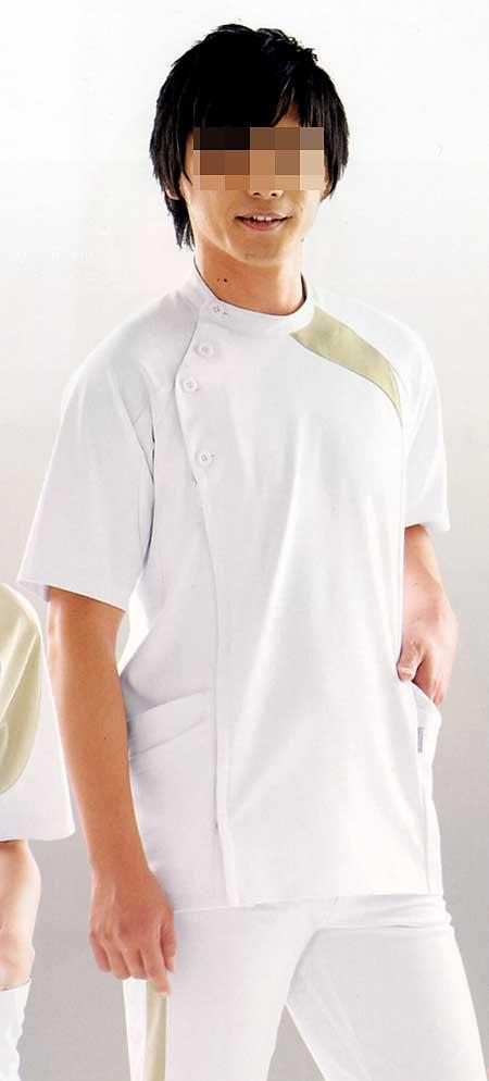 【ラッキーシール対応】白衣 【送料無料】アシックス[4D]カッティング/メンズジャケット半袖/ホワイト×ベージュLKM501-0105【】