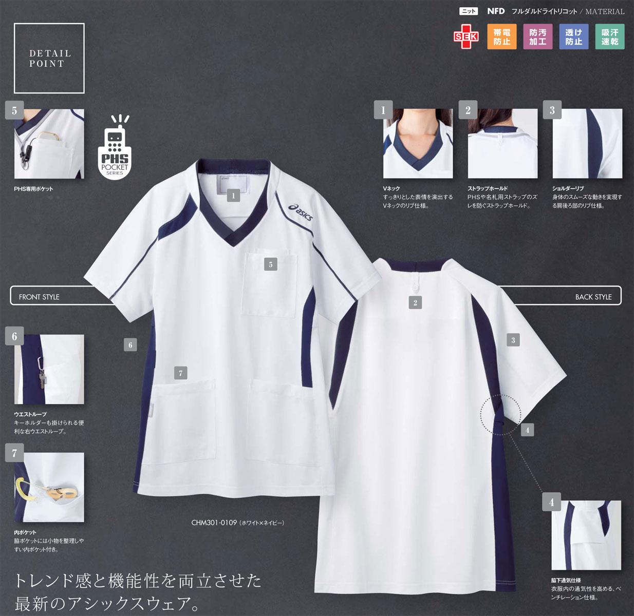 【ラッキーシール対応】白衣 ジャケット白衣(男性女性兼用)カラー:ホワイト×ネイビー CHM301-0109