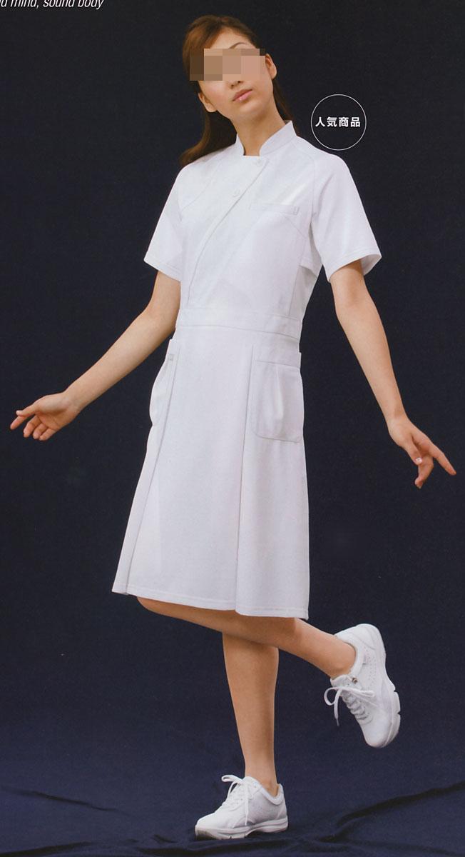 【ラッキーシール対応】白衣 【送料無料】アシックス/女性用、ナースワンピース白衣半袖/ホワイトLKM401-0100【】
