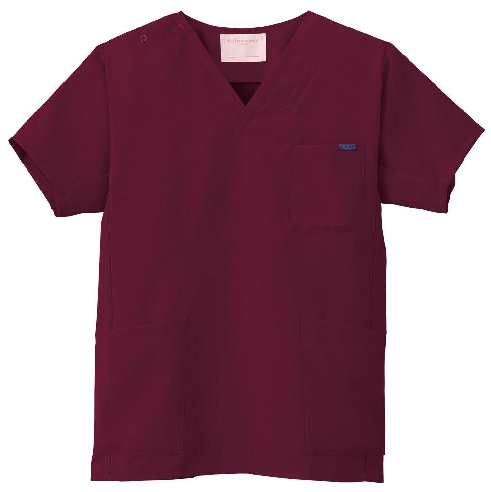 【ラッキーシール対応】白衣 『国境なき医師団』支援,男性女性ドクター兼用スクラブ白衣カラー/バーガンディ1枚当たり300円が寄付されます7013SC-16【】