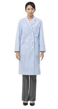 白衣 女性ドクター診察衣白衣 ブルー 卓越 長袖ダブル型白衣 女性 女子 レディース 驚きの価格が実現 レディス 実験衣 実習衣 検査着 51-013 医師用白衣 薬剤師 栄養士 ドクター 理科の先生の白衣