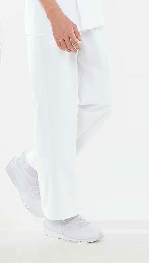 白衣 男性用、肌に触れる裏面に綿を使用敏感肌の方にもおすすめ男子スラックス《ニット素材》ホワイト52-743【】