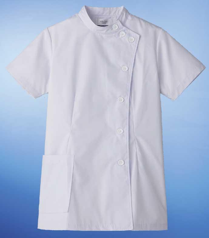 【ラッキーシール対応】白衣 定番デザイン通常より厚手の素材女性用ドクターケーシー横掛白衣/半袖SP/MR-750【】