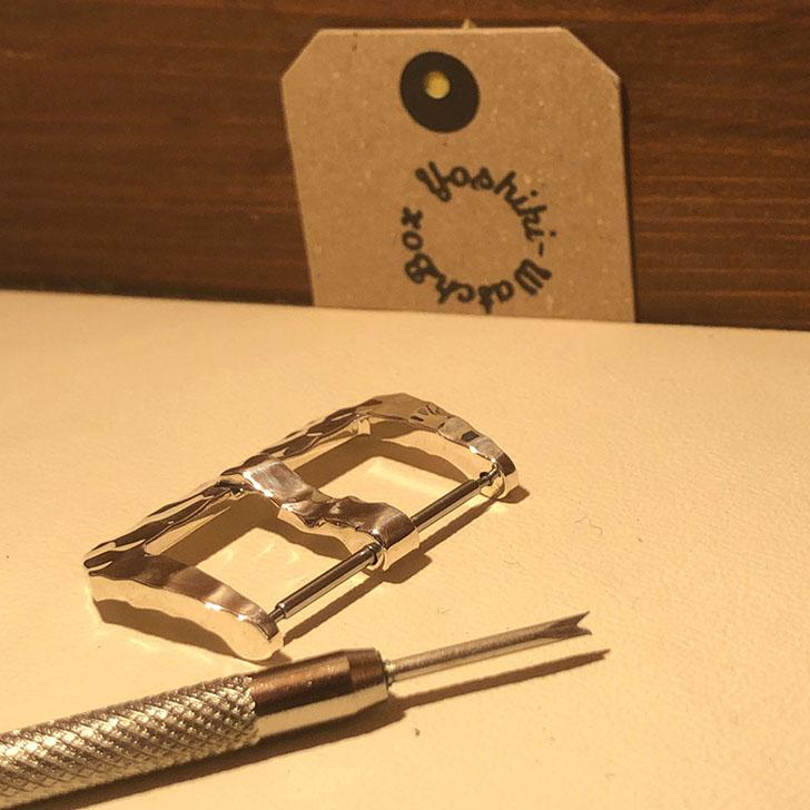 シルバー925製 腕時計ベルト用 バックル 26mm ハンマートーン(槌目)タイプ ht-26