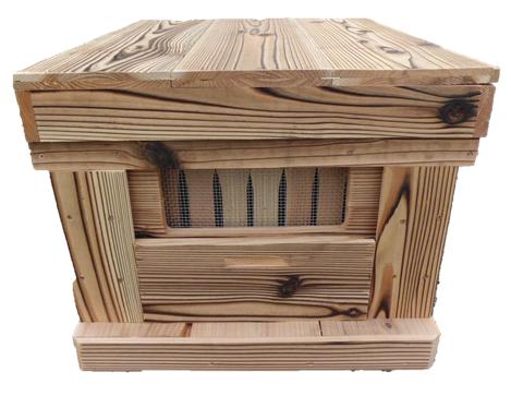 【巣箱】焼杉(浮造り仕上げ)ミツバチの巣箱幅550×奥行450×高さ340ミリ(国産杉)