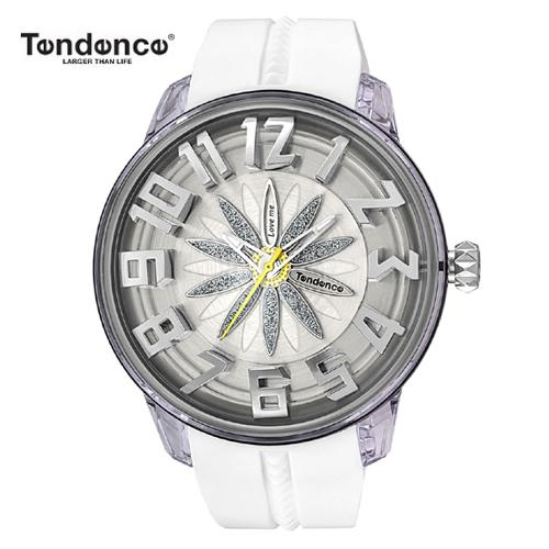 テンデンス Tendence 腕時計 King Dome ホワイト文字盤 TY023004 メンズ 【正規輸入品】4年保証【花弁模様がくるくる回転します】【送料無料】