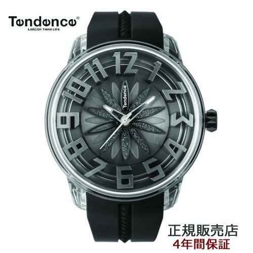 (あす楽)テンデンス Tendence 腕時計 King Dome ブラック文字盤 TY023007 メンズ 【正規輸入品】4年保証【花弁模様がくるくる回転します】【送料無料】※七色に光る特製アンブレラプレゼント