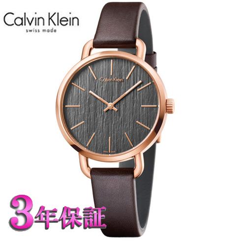 (あす楽)[正規品/3年保証付き] カルバンクライン イーブン 腕時計 クールグレー文字板  ピンクゴールドケース レディ 36mmサイズ Calvin Klein even K7B236G3 【名入れ】【送料無料】02P04Jun19 プレゼント