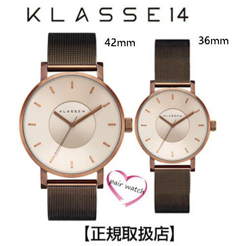 [クラス14]KLASSE14 ペア 腕時計 42mm 36mm Vintage gold stainless steel case  特別仕様のメタルメッシュバンド 【正規輸入品】VO18VG002M-VO18VG002W 【クリスマスプレゼント】