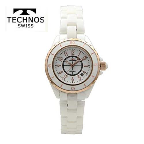 (あす楽)テクノス 腕時計 (TECHNOS) レディース(女性用) ホワイトセラミックベルト付 T9832PW 2018新作モデル  【ホワイトデイ】【02P04dec18】【送料無料】