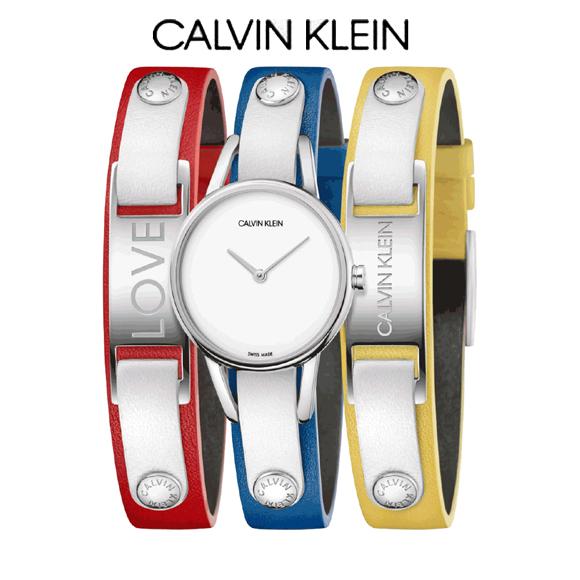 (正規品/3年保証付き) カルバン・クライン#マイカルバンズ 腕時計 K9D231VX CALVIN KLEIN #MYCALVINS ホワイト文字板 レディー 正規品 2本のプレート付きブレス付き【送料無料】 【安心の正規販売店】 雑誌紹介モデル