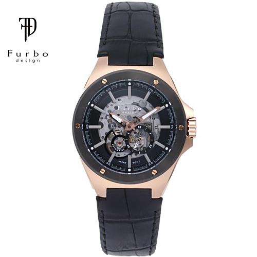 フルボ デザイン 自動巻き メンズ 腕時計 F2501PBKBK Furbo Design ブラックゴールド【送料無料】【ギフト】【日本製自動巻きムーブメント】
