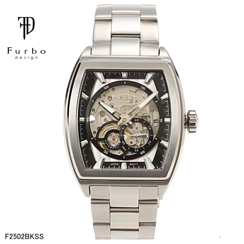 フルボ デザイン 自動巻き メンズ 腕時計 F2502BKSS Furbo Design シルバーブラック【送料無料】【ギフト】【日本製自動巻きムーブメント】