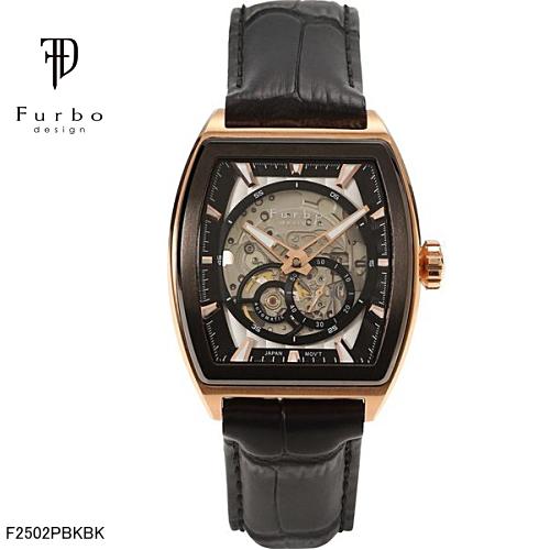 フルボ デザイン 自動巻き メンズ 腕時計 F2502PBKBK Furbo Design ブラックゴールド【送料無料】【ギフト】【日本製自動巻きムーブメント】