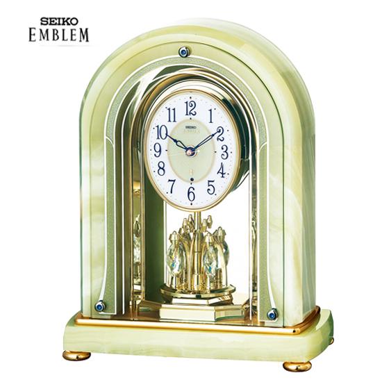 卓抜 セイコー エムブレム EMBLEM オニキス枠電波置時計 Authentic HW575M 送料無料 10P04Jun19 包装 市販 のし宛書 名入れ