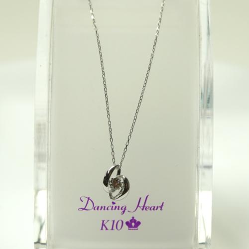 ダンシング ハート ダイヤモンド ネックレス 0.05ct Dancing Heart K10ホワイトゴールド DH-004 Moonless Night【楽ギフ_のし】【人気No1モデル】クロスフォー