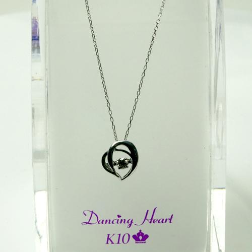 ダンシング ハート ダイヤモンド ネックレス 0.05ct Dancing Heart K10ホワイトゴールド DH-013 Moonless Night【楽ギフ_のし】【人気No1モデル】クロスフォー
