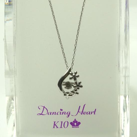ダンシング ハート ダイヤモンド ネックレス 0.05ct Dancing Heart K10ホワイトゴールド DH-020 Moonless Night【楽ギフ_のし】【人気No1モデル】クロスフォー
