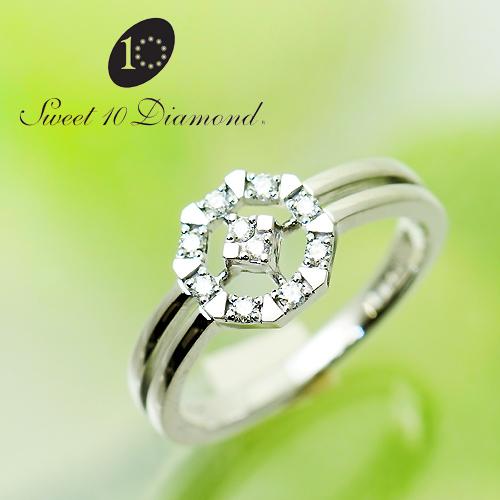 (あす楽)【正規品】 スイート10ダイヤモンド Sweet 10 Diamond K18WG ダイヤモンド リング  0.10ct WRD1R022W【正規保証書付き】【スウィート10】【結婚10周年】【プレゼント】【贈り物】【記念ジュエリー】【送料無料】【ナガホリ正規モデル】