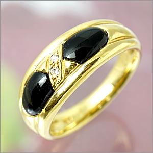 【限定1本】K18 オニキス(黒めのう)・ダイヤモンドリング  FR-376【送料無料】【ギフト】【包装】【クリスマス】10P04Jun19
