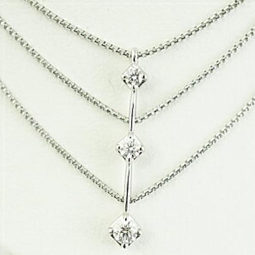 (あす楽)【限定1本】TASAKI トリロジー K18WG 3ストーン ダイヤモンドネックレス トータル0.30ct【送料無料】【ギフト】【包装】【クリスマス】10P04Jun19