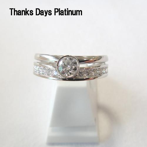 (あす楽)正規モデル( Pt950) Thanks Days Platinum リング (ダイヤモンド中石 0.20ct up 脇石 0.20ct)【メッセージ 刻印】【RCP】【送料無料】10P03Sep16
