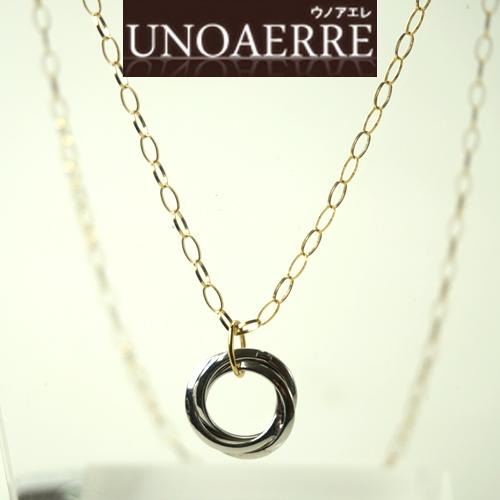 (あす楽)UNOAERRE ウノアエレ K18 イエローゴールドネックレス K18WGペンダント付き 002UJP229000 [送料無料]【楽ギフ_のし】【送料無料】