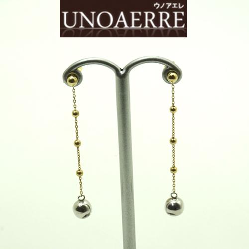 UNOAERRE ウノアエレ K18 ホワイト/イエローゴールドコンビ ピアス 新作モデル 8000FX9968000 [送料無料]10P04Jun19