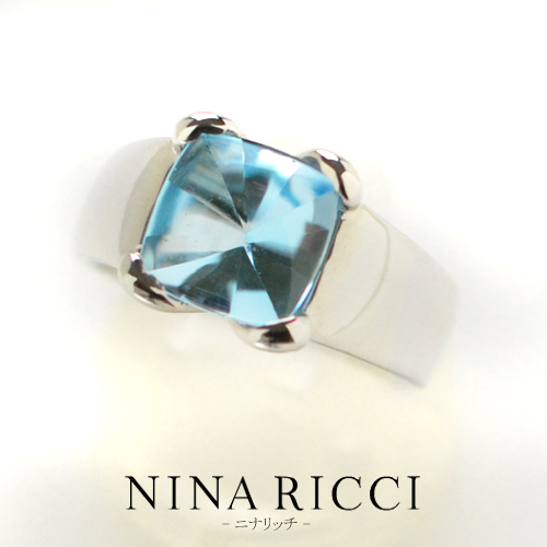 (あす楽) NINA RICCI ニナリッチ ブルートパーズ ファッションリング K18ホワイトゴールド【楽ギフ_包装_のし_メッセ入力】【送料無料】【クリスマス】10P04Jun19