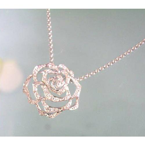 (あす楽)THE LAZARE DIAMOND ラザールダイヤモンド ネックレス シルエット・オブ・ローズ シリーズ 0.21ct LD362KNダイヤグレード Hカラー/SIアップ  【楽ギフ_メッセ入力】【送料無料】10P04Jun19